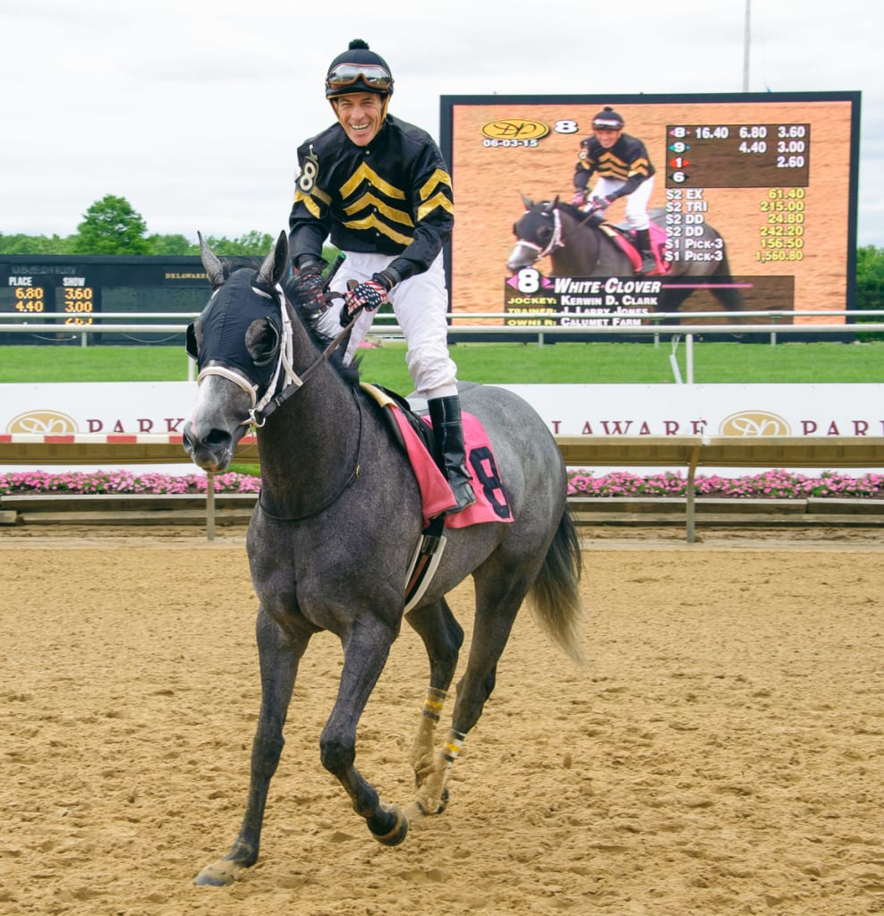 Kerwin Clark and White Clover won the Our Mims at Delaware Park for trainer Larry Jones. Photo by HoofprintsInc.com.