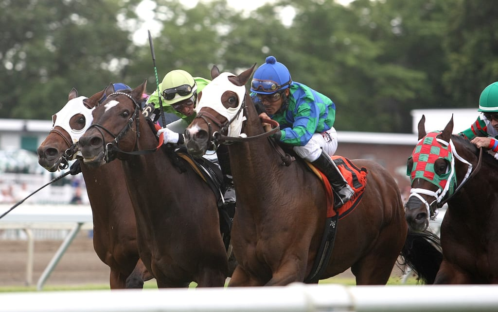 Kharafa got through late to score narrowly over Lochte in the Elkwood at Monmouth Park. Photo By Ryan Denver/EQUI-PHOTO