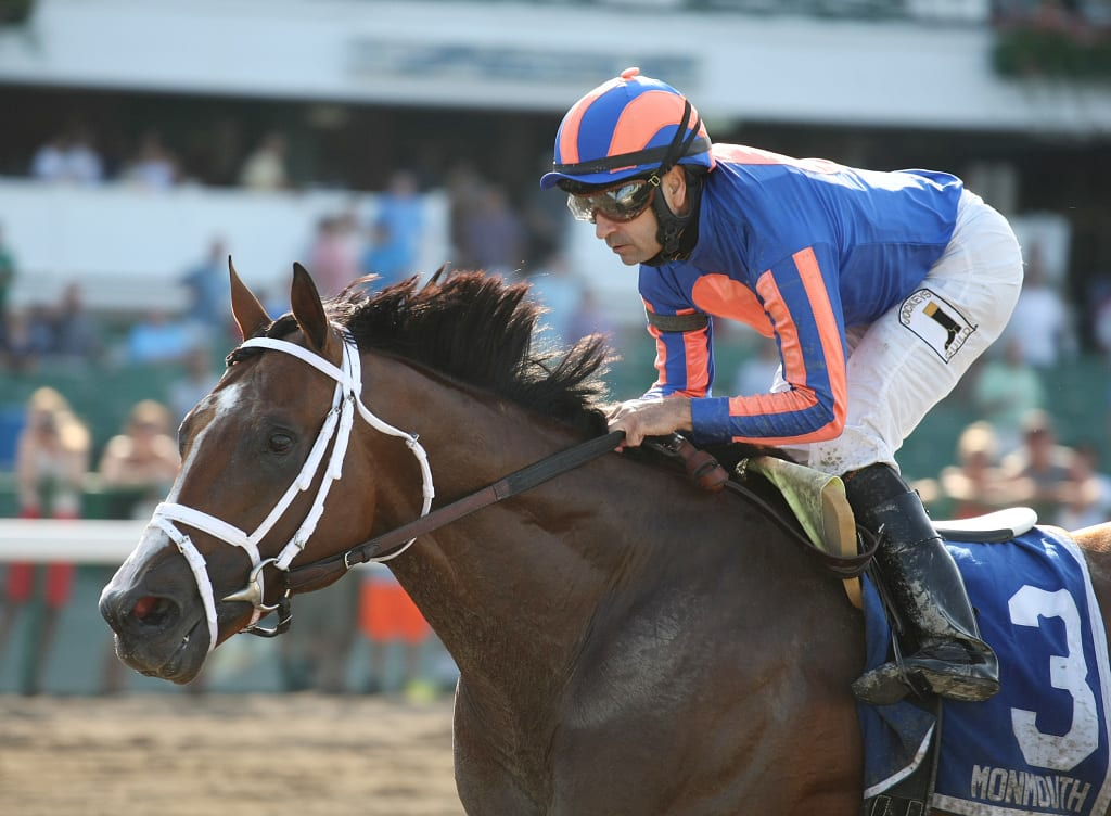 Stanford and jockey Joe Bravo proved best in the Long Branch Stakes Saturday at Monmouth.  Photo By Bill Denver/EQUI-PHOTO