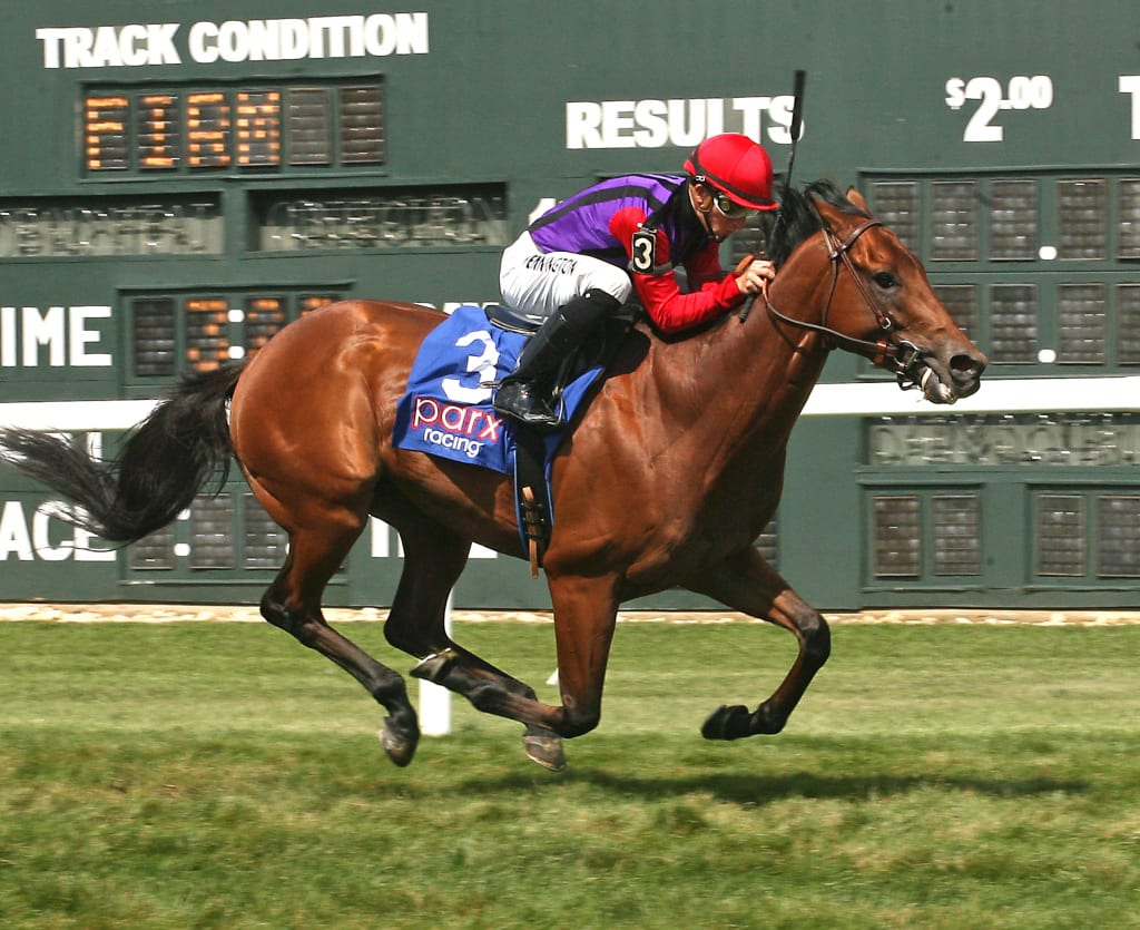 Saham dusted her rivals to win the Crow Pleaser, for PA-breds, at Parx Racing. Photo by Barbara Weidl/EQUI-PHOTO