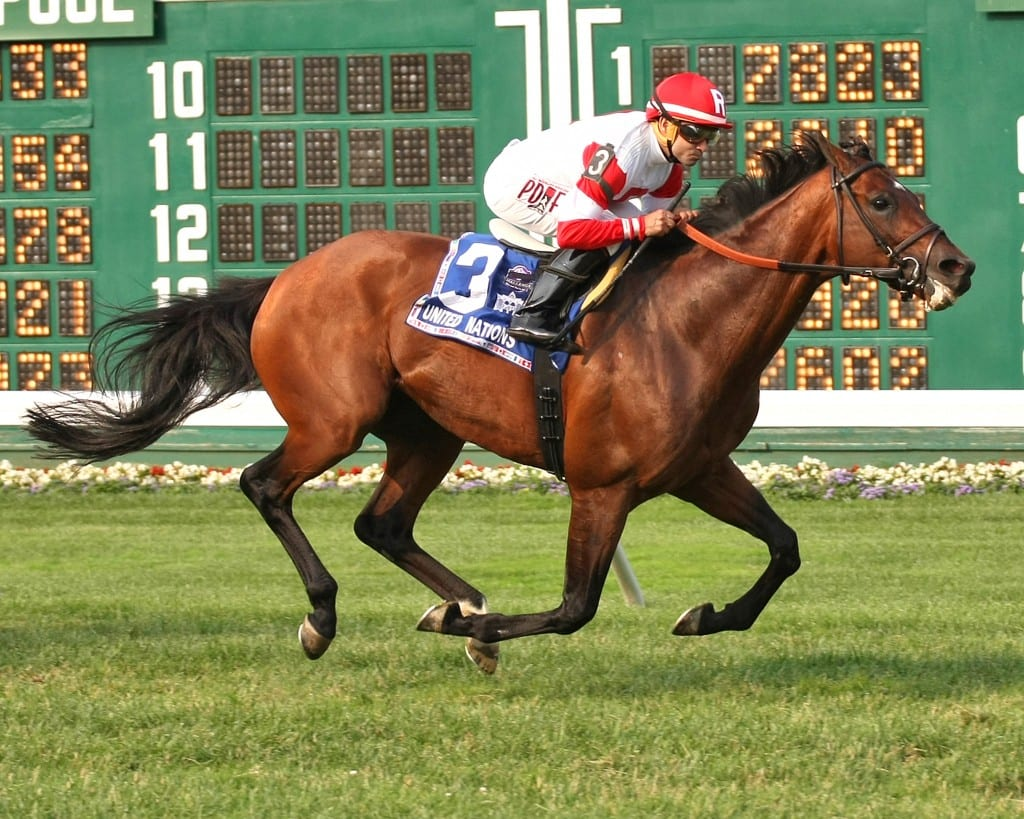 Big Blue Kitten stormed home to win the Grade 1 United Nations. Photo By Taylor Ejdys/EQUI-PHOTO