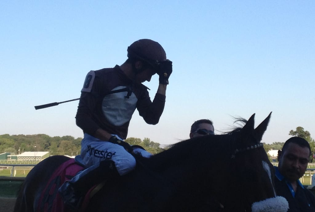 Sheldon Russell after winning Laurel Park's seventh race aboard Wild Chatter. Photo by The Racing Biz.