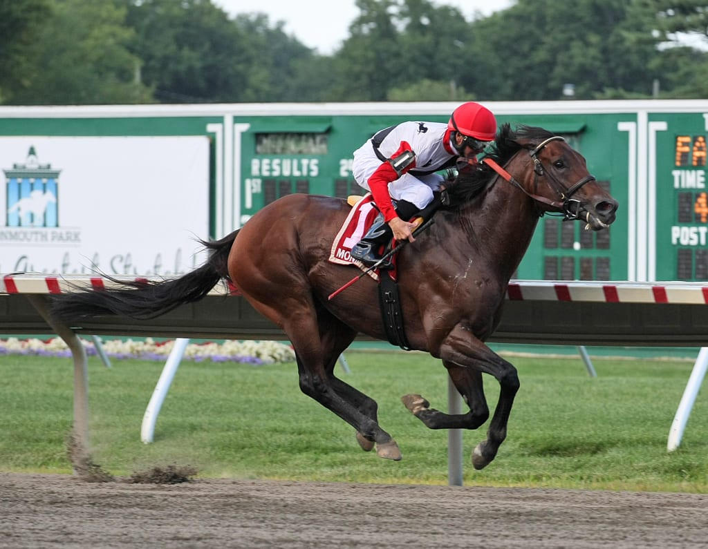 Bradester took the G2 Monmouth Cup for his second win of the Monmouth meet. Photo By Taylor Ejdys/EQUI-PHOTO.