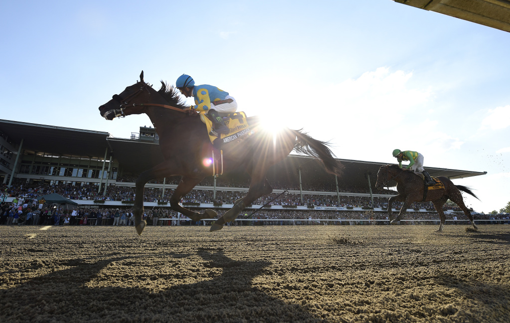 American Pharoah gave a record Monmouth crowd what it came for in romping to victory in the Haskell. Photo By Melissa Wirth/EQUI-PHOTO.