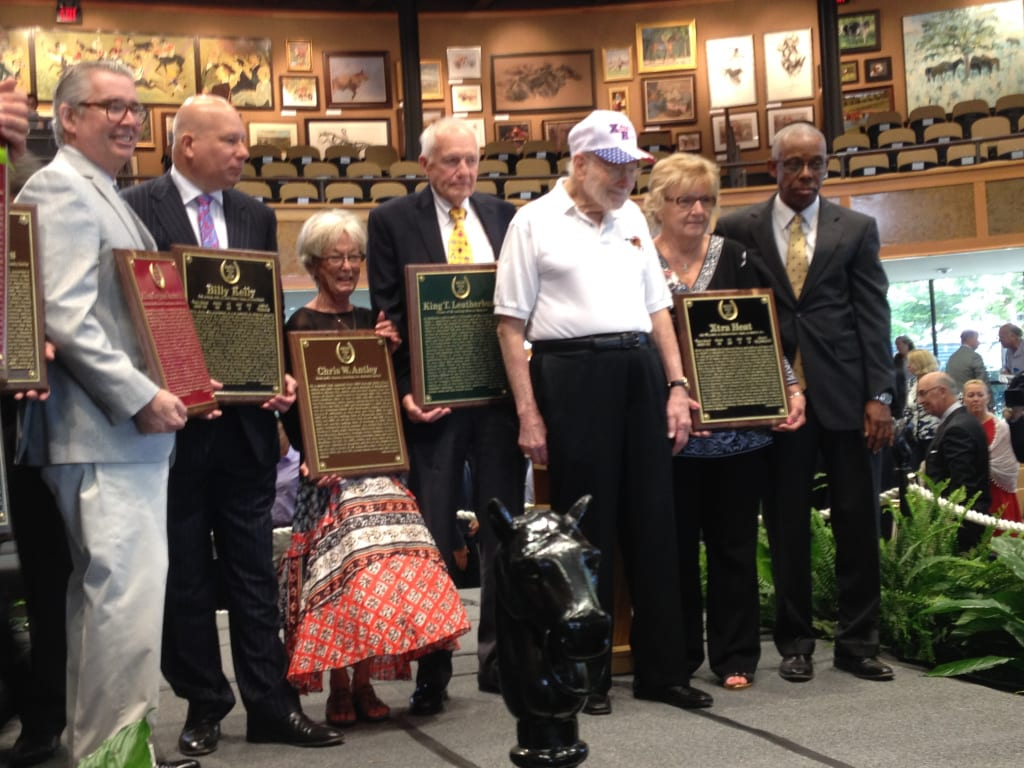Newly minted Hall of Famers, including (from left), A. G. Vanderbilt, III, accepting for his father; Clark Shaffer,accepting for his great-grandfather H. G. Bedwell, who trained Billy Kelly; Chris Antley's mother Shelly; King Leatherbury; and Harry Deitchman and Ken Taylor, accepting for Xtra Heat.