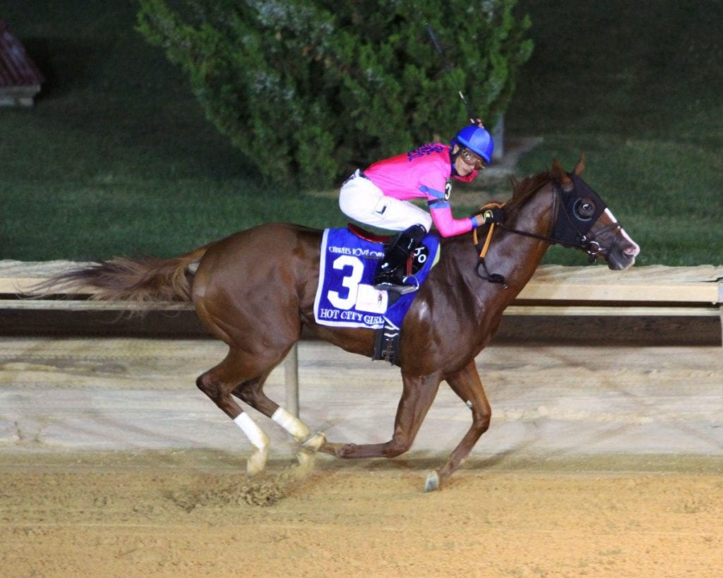 Hot City Girl took them all the way to win the G3 Charles Town Oaks Saturday night. Photo by Coady Photography.