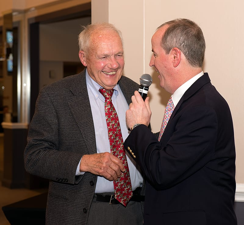 King Leatherbury (left) and Crab Feast emcee Scott Wykoff share a laugh. Photo by Jim McCue.