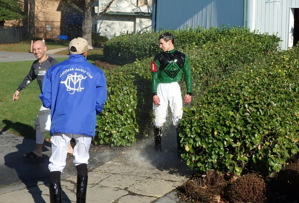 Lane Luzzi got the traditional greeting after his first win. Photo by The Racing Biz.