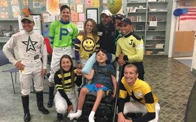 Delaware Park jockeys visit children's hospital