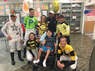Delaware Park jockeys visit children's hospital