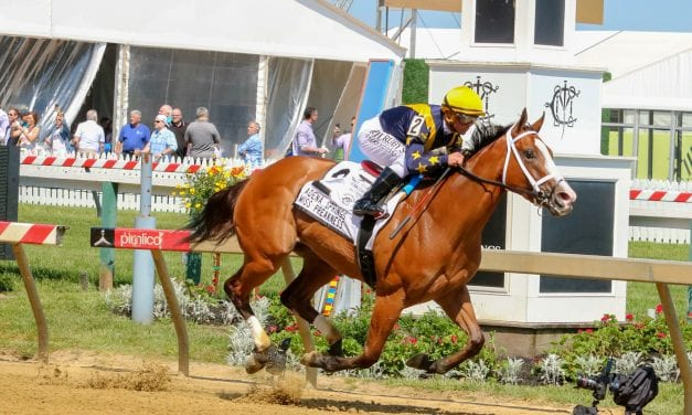 Covfefe blazes to track record in Miss Preakness