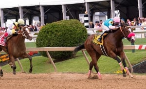 Miss Behaviour powers home to win the Miss Preakness. Photo by Jim McCue, Maryland Jockey Club.