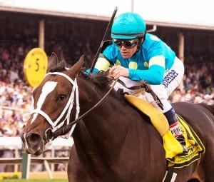 Wallyanna rolls to victory in the James Murphy Stakes Saturday at Pimlico.  Photo by Jim McCue, Maryland Jockey Club.