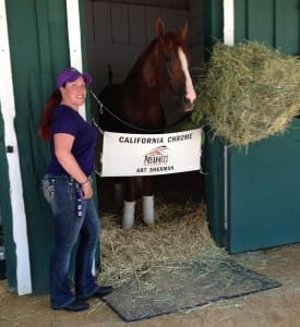 Jessica Lindsey visits California Chrome in the days before the Preakness. Photo by The Racing Biz.