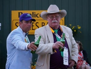 Steve Coburn (right), co-owner of California Chrome, celebrates at the post-Preakness party. Photo by Vas.